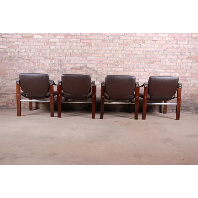 Maurice Burke for Pozza Mahogany and Leather Safari Chairs, Set of Four For Sale - Image 9 of 13