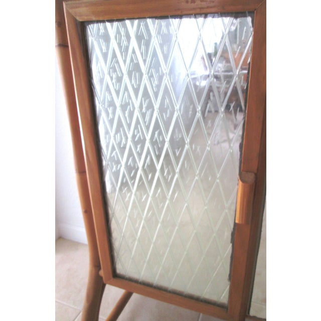 Mid Century Bamboo Mirrored Bar Cabinet - Image 6 of 11