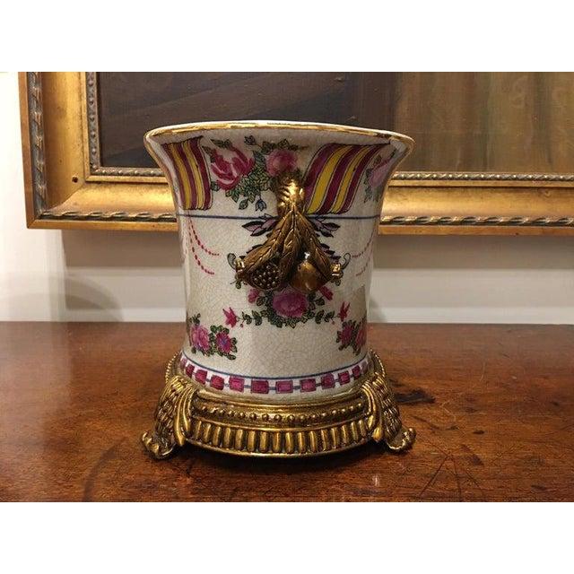 Porcelain Cache Pots or Jardinières with a Floral Motif, 20th Century - A Pair For Sale In Savannah - Image 6 of 10