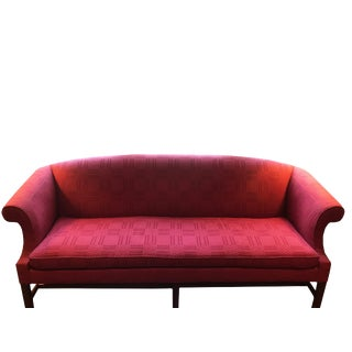 1990s Vintage Raspberry Silk Sofa For Sale