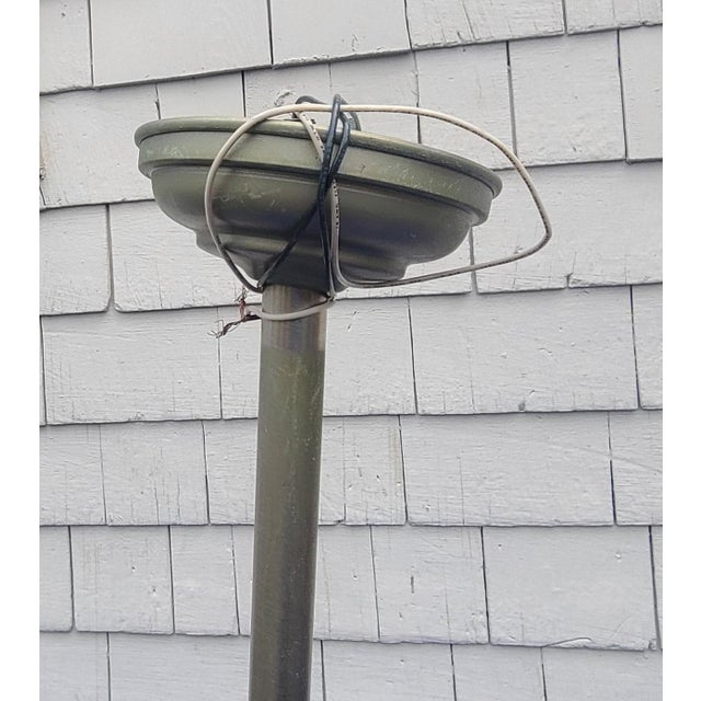 """Pair Ann Morris Polished Nickel 12"""" Rim & Diffuser Holophane Glass Pendant Lamp W/ Stems For Sale In New York - Image 6 of 12"""