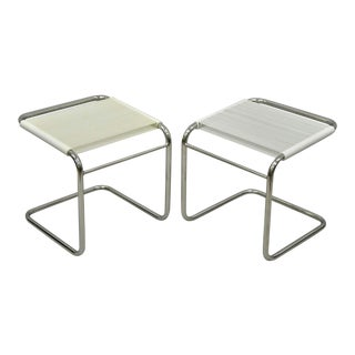 Mid Century Modern Chrome Cantilever Vinyl Rope Cord Stools Ottomans- A Pair For Sale