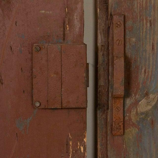 Rustic European Antique Original Brown Painted Barn Doors - a Pair For Sale - Image 3 of 9