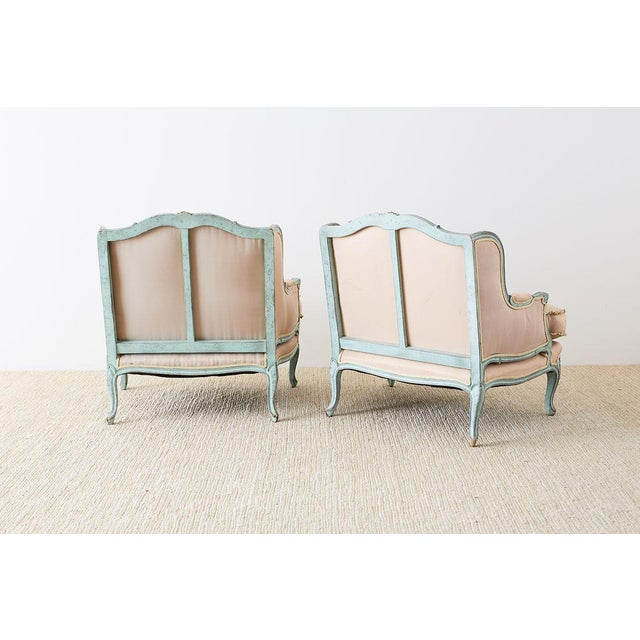 Pair of Louis XV Style Marquise Winged Bergère Armchairs For Sale - Image 12 of 13