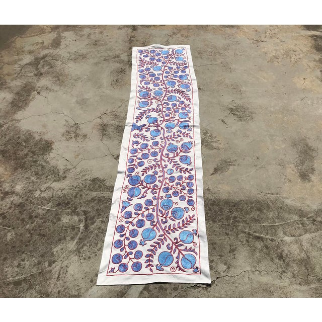 Modern Art Deco Ivy Patterns Crochet Blue and Red Floral Fabric Table Runner For Sale - Image 4 of 7