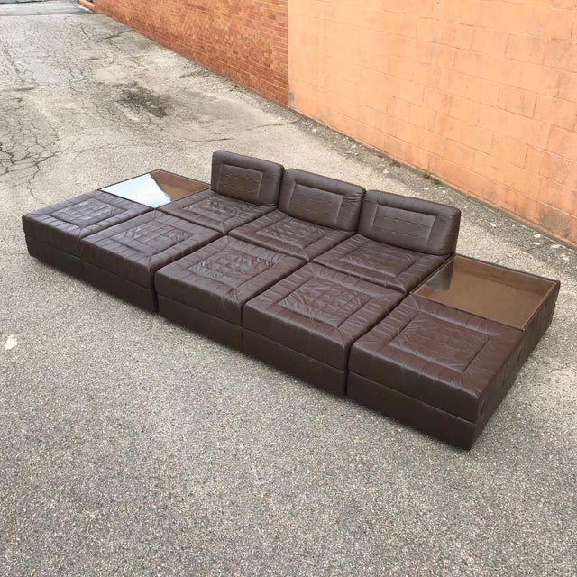Boho Chic Modular Leather Sectional Sofa by Percival Lafer For Sale - Image 3 of 13
