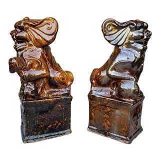 Qing Dynasty Chinese Architectural Temple Guardian Foo Dogs - a Pair For Sale
