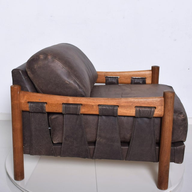 For your pleasure: An exquisite Leather Lounge Chair attributed to Craft Associates. Rich Brown Leather. Incorporates...
