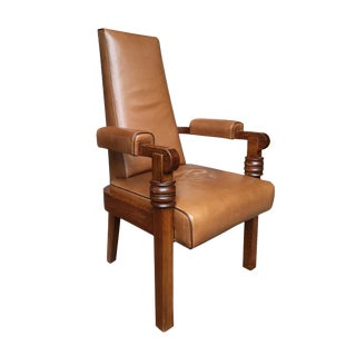 1940s Art Deco Leather & Oak Armchair by Charles Dudouyt For Sale
