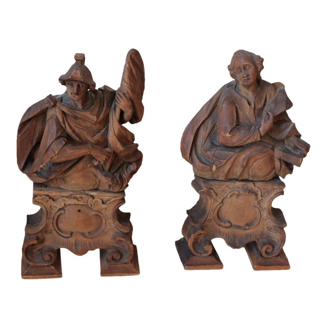 18th C. Wood Figure Carvings - Pair - Image 1 of 10