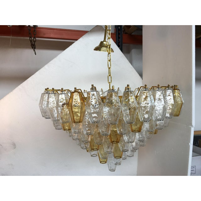 Chandelier Murano Glass Poliedro Transparent and Gold and Amber For Sale - Image 13 of 13