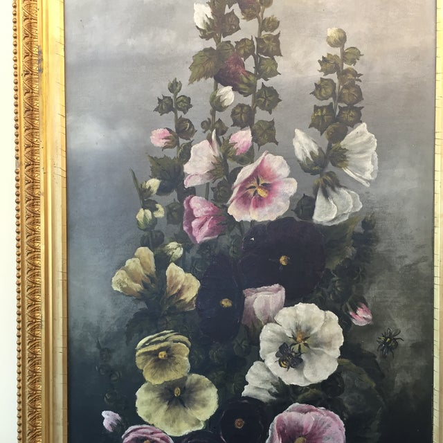 Traditional Hollyhock Painting For Sale - Image 3 of 5