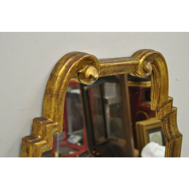 Wood Italian Gold Giltwood Hollywood Regency Scroll Wall Console Mirror Kent Coffey For Sale - Image 7 of 11