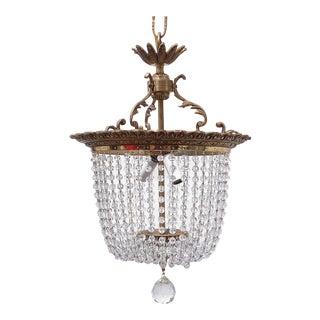 Vintage Bronze Italian Style Crystal Basket Chandelier For Sale