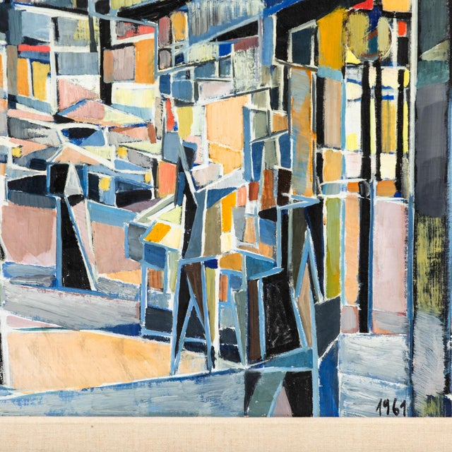 """Blue """"Paris Boulevard by Night"""" Oil Painting on Canvas by Jean Lamorlette For Sale - Image 8 of 10"""