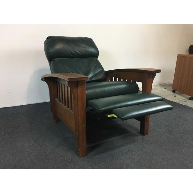 Mission Style Black Leather Upholstered Wood Recliner For Sale In San Francisco - Image 6 of 6