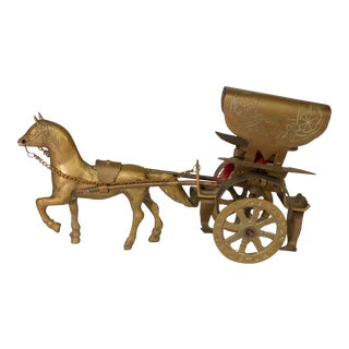 Vintage Brass Horse and Carriage Figurine For Sale