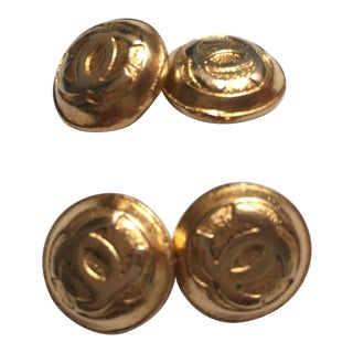 Beautiful 1970's Chanel Gold Tone Cufflinks For Sale
