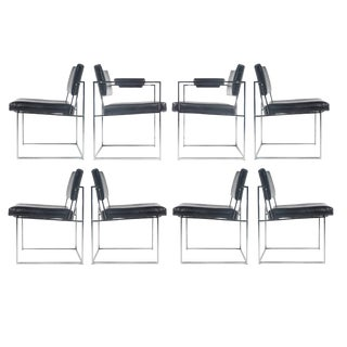 Milo Baughman Thayer Coggin Eight Chrome Dining Chairs - Set of 8 For Sale
