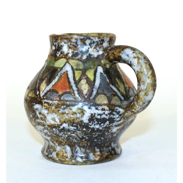 Mid-Century Modern Enamel Glazed Polychrome Stoneware Pitcher For Sale - Image 3 of 6