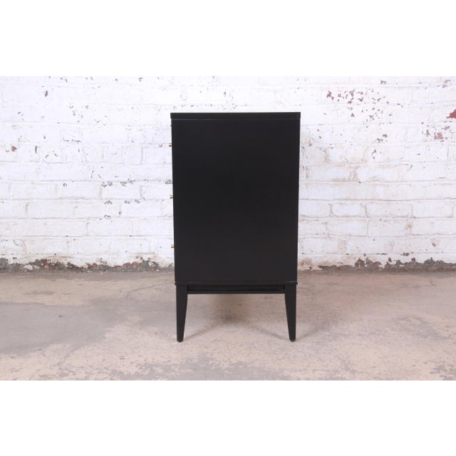 Paul McCobb Planner Group Black Lacquered Three-Drawer Bachelor Chest, Newly Restored For Sale - Image 10 of 13