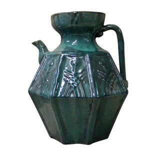 Vintage Chinese Dark Green Glaze Ceramic Jar For Sale