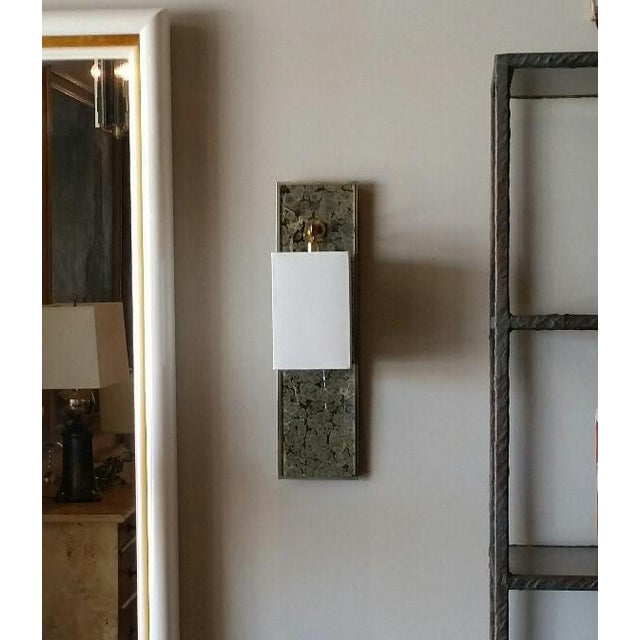 Brass Modern Brass and Marbleized Wall Sconce V2 by Paul Marra For Sale - Image 8 of 13