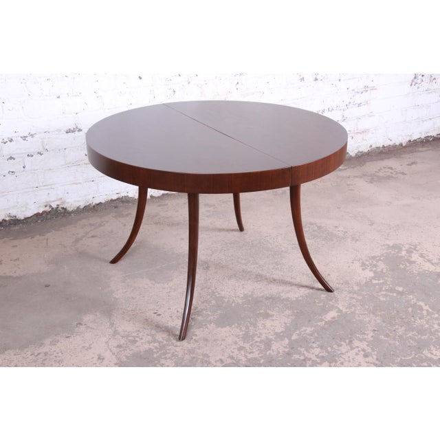 Robsjohn-Gibbings for Widdicomb Mid-Century Modern Walnut Saber Leg Extension Dining Table, Newly Restored For Sale - Image 10 of 13