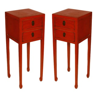 Pair of Coral Asian Style Bedside Cabinets For Sale