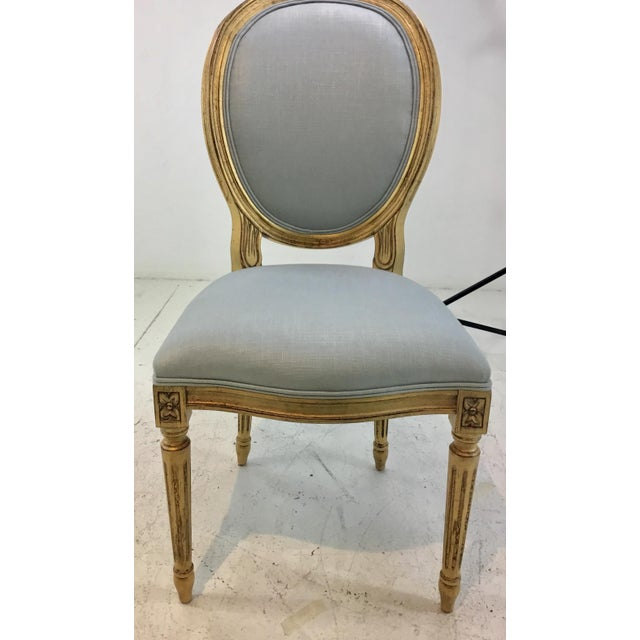 French Currey and Co. French Style Palais Blue and Gold Side Chairs Pair For Sale - Image 3 of 7