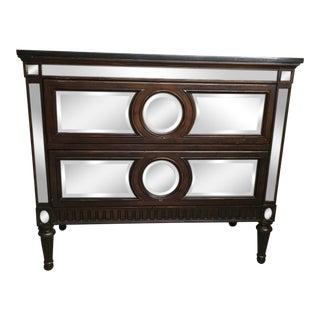 Regency Style Black Marble Top Mirrored Wooden 2-Drawer Dresser For Sale