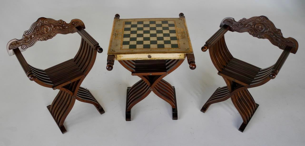 Savonarola Chairs \u0026 Slatted Folding Table With Chess Board - Set of 3 - Image 2  sc 1 st  Chairish & Savonarola Chairs \u0026 Slatted Folding Table With Chess Board - Set of ...