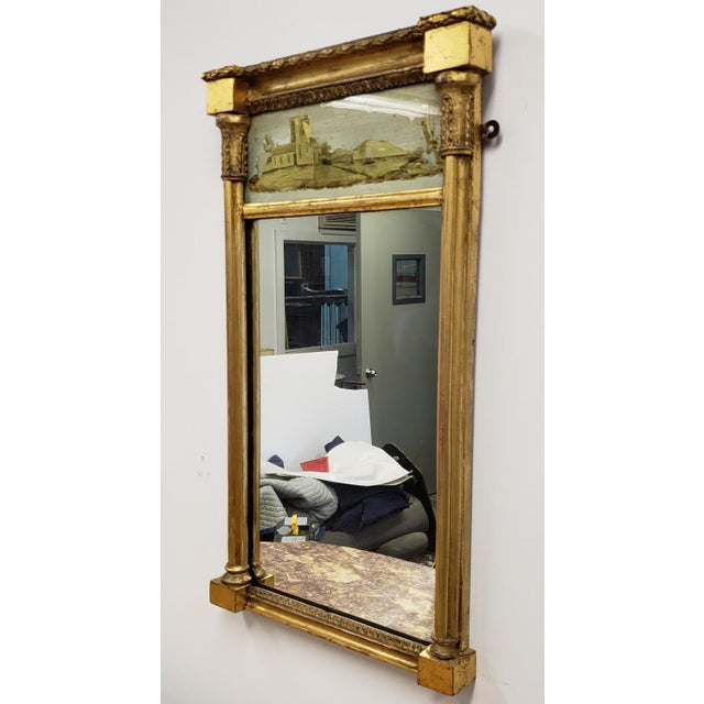 Antique Federal 19th Century Giltwood Eglomise Reverse Painted Gold Leaf Hanging Wall Mirror For Sale In New York - Image 6 of 7