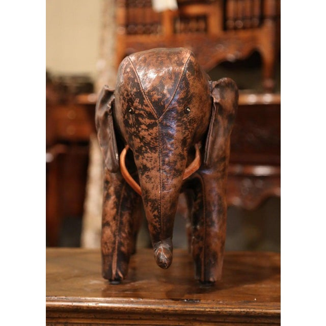 Mediterranean Vintage Spanish Brown Leather Elephant Sculpture Footstool For Sale - Image 3 of 7
