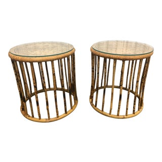 Vintage Boho Chic Rattan Tables - a Pair For Sale