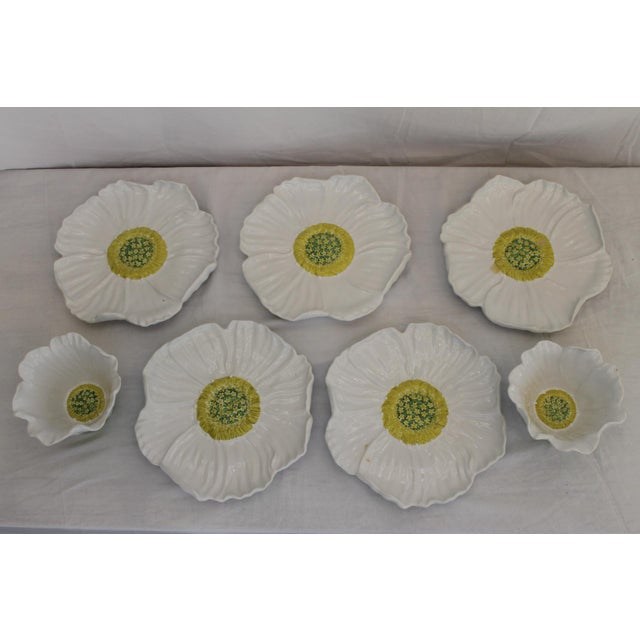 Ceramic Vintage White Ceramic Daisy Bowls and Saucers - 7 Piece Set For Sale - Image 7 of 7