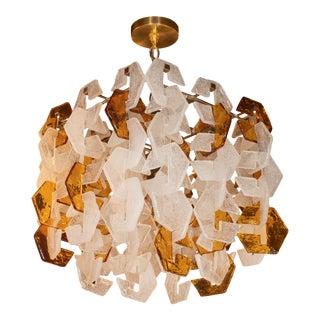 1970s Mazzega Mid-Century Modern Murano Interlocking Amber and White Glass Chandelier For Sale