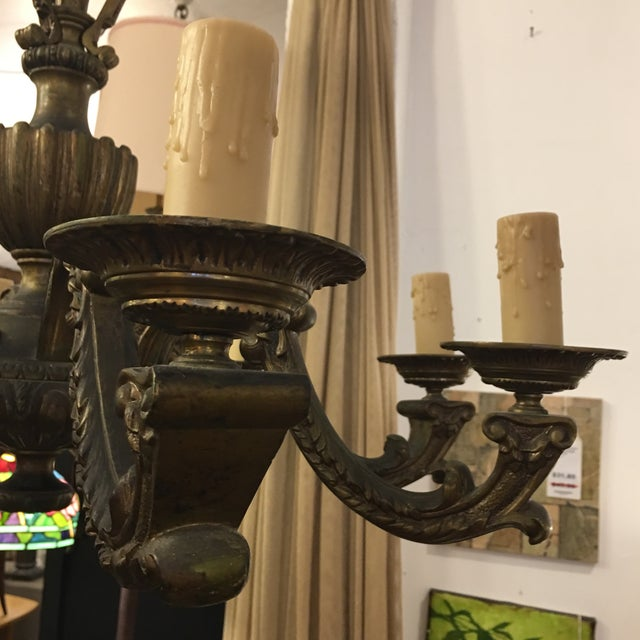 Gold Antique Belgian Brass Chandelier For Sale - Image 8 of 11