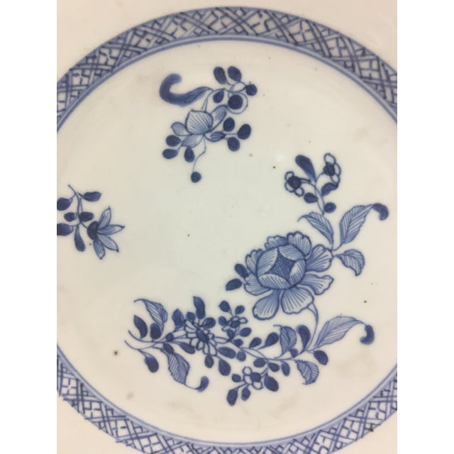 This blue and white celadon plate dates from between 1810 and 1820. It is in excellent condition, as shown in photos.