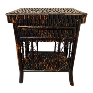 Antique Chinoiserie Ebonized Bamboo Side Table With Drawer For Sale