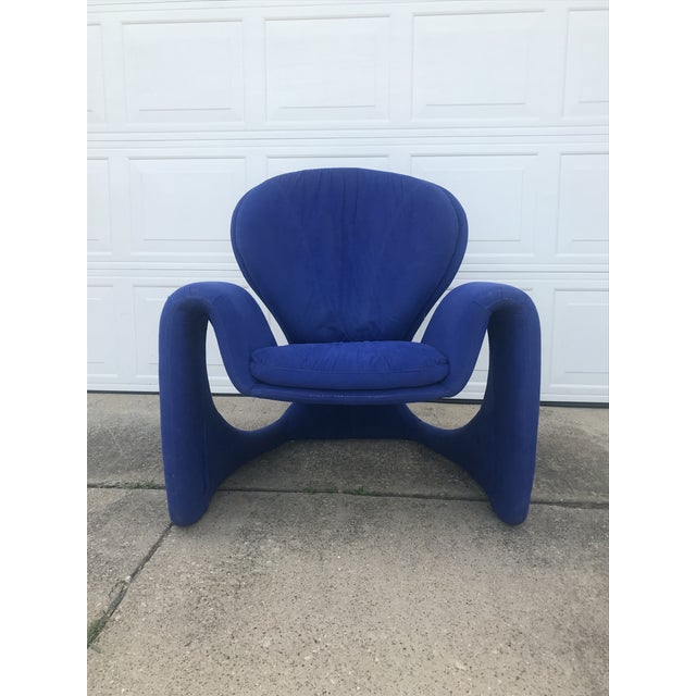 Contemporary 1980s Vintage Post Modern Curvy Accent Chair For Sale - Image 3 of 10