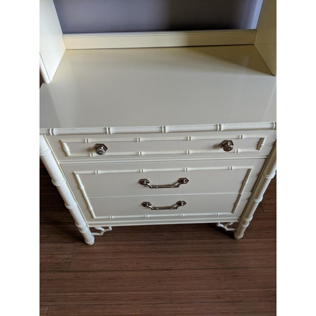 Thomasville two piece faux bamboo bookcase and three drawer dresser chest. Professionally painted in a high gloss soft...