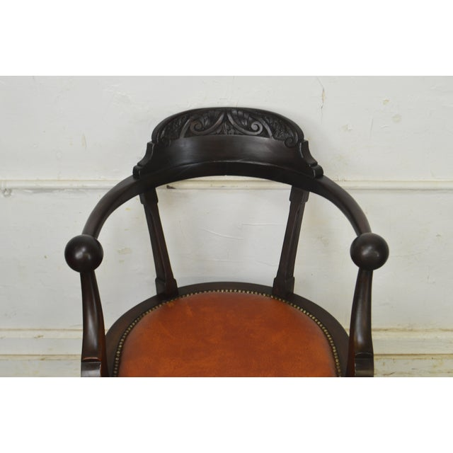 Victorian Antique Mahogany Swivel Desk Chair For Sale - Image 4 of 13
