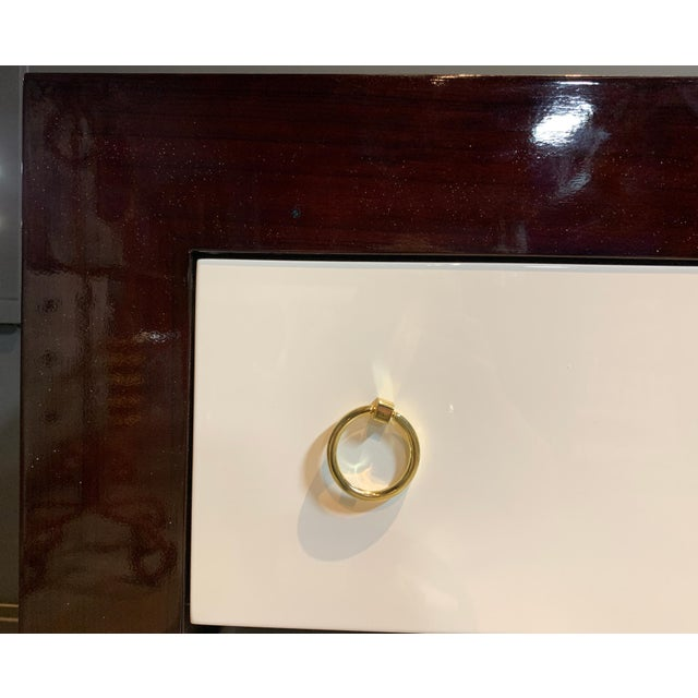Modern Worlds Away Rosewood & White Lacquer Nightstand For Sale - Image 3 of 5