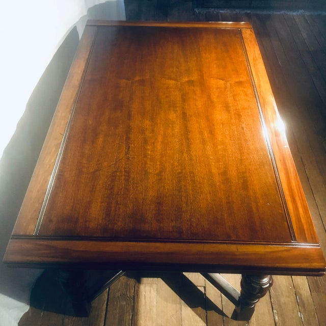 """Wood 62""""-96"""" Jacobean Dining Table With Breadboard Extensions For Sale - Image 7 of 12"""