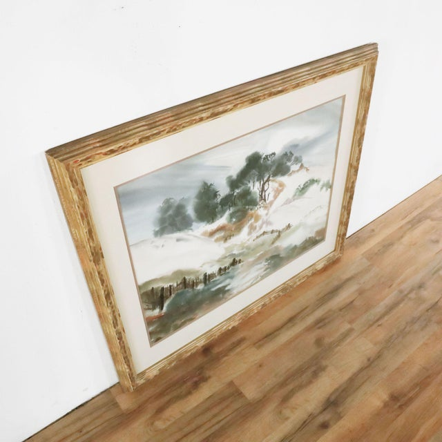 Billowy landscape painting signed by unknown artist. Dimensions (in): 37.5 W x 1.25 D x 32.0 H.