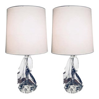 Large Schneider Crystal France 1960 Table Lamps - A Pair For Sale