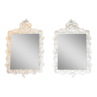 Hollywood Regency Sea Shell Iron Mirrors - a Pair For Sale