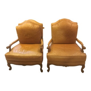 Ethan Allen Leather Harris Chairs - a Pair For Sale