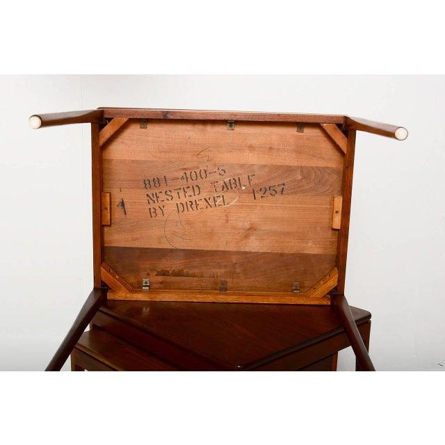 1950s Set of 3 Kipp Stewart for Drexel Walnut Nesting Tables For Sale - Image 5 of 5